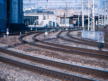 Perspective view on many railway track lines Royalty Free Stock Photos