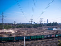 Perspective view on many railway track lines Stock Photo