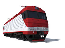 Perspective view of the modern electric locomotive. 3d render illustration isolated on white: Perspective view of the modern electric locomotive Royalty Free Stock Photography