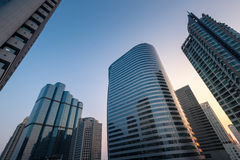 Perspective view of Modern skyscrapers Stock Photos