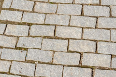 Perspective View of Monotone Gray Brick Stone on The Ground for Street Road. Sidewalk, Driveway, Pavers, Pavement in Vintage Desig royalty free stock photo