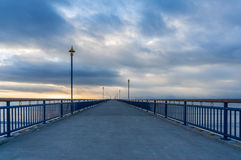 Perspective view on New Brighton pier Royalty Free Stock Image