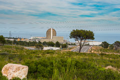 Perspective view of the nuclear power plant a in Vandellos. The nuclear power plant by the sea in Vandellos, Tarragona, Spain Royalty Free Stock Images