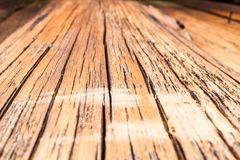 Perspective view of obsolete log with cracks. Selective focus. stock photo