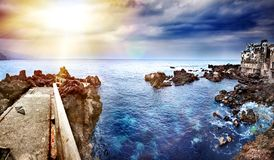 Free Perspective View Of A Stone Pier In The Sea. Seascape Background In The Ocean. Travel And Vacation Concept. Tenerife, Royalty Free Stock Photo - 144035015