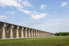 Perspective view of Pensacola Dam - the longest multiple-arch dam in the world - located in Langley OK USA  12 2018. A Perspective view of Pensacola Dam - the Royalty Free Stock Photo