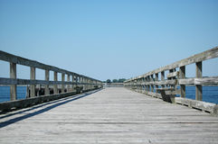 Perspective View of Pier. Perspective view of long pier, Fort Foster, NH royalty free stock images