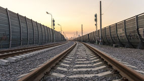 Perspective view of railway at the city Royalty Free Stock Photo