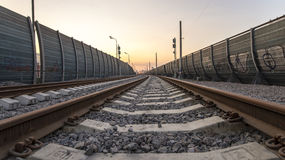 Perspective view of railway at the city Royalty Free Stock Photos