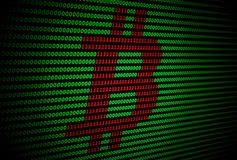 Bitcoin logo on a dark green background. Perspective view of red bitcoin logo formed from a binary code on a dark green background Royalty Free Stock Image