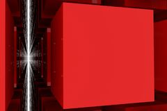 Perspective view of red color grossy cubes or boxes. Shape, pattern, background, perspectives, style & artistic. Perspective view of red color grossy cubes or Royalty Free Stock Photos