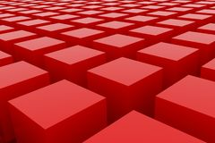 Perspective view of red color grossy cubes or boxes. Shape, pattern, perspectives, imagination, blur & artwork. Perspective view of red color grossy cubes or Stock Photo