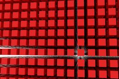 Perspective view of red color grossy cubes or boxes. Shape, pattern, creative, perspectives, illustration & backdrop. Perspective view of red color grossy cubes Stock Image