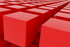 Perspective view of red color grossy cubes or boxes. Shape, pattern, abstract, backdrop, wallpaper & colorful. Perspective view of red color grossy cubes or Stock Image