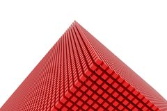 Perspective view of red color grossy cubes or boxes. Shape, pattern, generative, rendering, dreamy & artistic. Perspective view of red color grossy cubes or Stock Photo