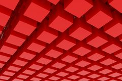 Perspective view of red color grossy cubes or boxes. Shape, pattern, art, colorful, dreamy & artistic. Perspective view of red color grossy cubes or boxes. Good royalty free illustration