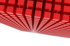 Perspective view of red color grossy cubes or boxes. Shape, pattern, backdrop, dreamy, colorful & abstract. Perspective view of red color grossy cubes or boxes Royalty Free Stock Image