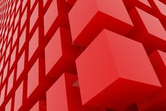 Perspective view of red color grossy cubes or boxes. Shape, pattern, backdrop, illustration, decoration & digital. Perspective view of red color grossy cubes or Royalty Free Stock Image