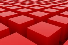 Perspective view of red color grossy cubes or boxes. Shape, pattern, backdrop, rendering, illustration & background. Perspective view of red color grossy cubes Royalty Free Stock Photography