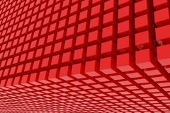 Perspective view of red color grossy cubes or boxes. Shape, pattern, creative, rendering, generative & artistic. Perspective view of red color grossy cubes or Royalty Free Stock Images