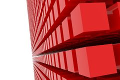 Perspective view of red color grossy cubes or boxes. Shape, pattern, digital, white, generative & style. Perspective view of red color grossy cubes or boxes Royalty Free Stock Images