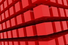 Perspective view of red color grossy cubes or boxes. Shape, pattern, dreamy, perspectives, decoration & colorful. Perspective view of red color grossy cubes or Royalty Free Stock Images