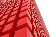 Perspective view of red color grossy cubes or boxes. Shape, pattern, generative, perspectives, rendering & dreamy. Perspective view of red color grossy cubes or Royalty Free Stock Photo