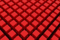 Perspective view of red color grossy cubes or boxes. Shape, pattern, illustration, rendering, art & digital. Perspective view of red color grossy cubes or boxes Royalty Free Stock Photo