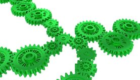 Perspective View of Several Green Gears. With a white background Stock Photography