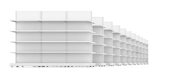 Perspective view of shopping empty shelves Stock Images