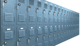 Blue School Lockers Perspective Stock Image