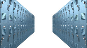 Blue School Lockers Aisle Perspective. A perspective view of a stack of blue metal school lockers with combination locks and dorrs shut on an isolated background royalty free stock photography