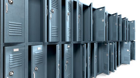 School Lockers Ransacked Perspective Royalty Free Stock Image
