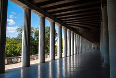 Perspective view of the stoa of Attalus in Athens Greece. Inside stoa of Attalos in ancient agora in Athens, Greece Stock Image