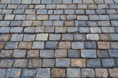 Perspective view on a stone pavement stock photo