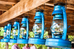 Perspective view of storm lanterns Royalty Free Stock Photography