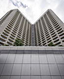 Perspective view of tall building in Singapore Royalty Free Stock Images