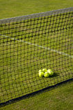 Perspective view of tennis court. Perspective view of grass tennis court, balls and net Stock Photography