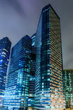 Perspective view to glass high-rise skyscrapers of Moscow city business center at night. Perspective view to glass high-rise skyscrapers of Moscow city business Stock Images