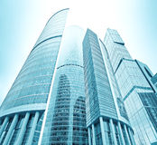 Perspective view to glass skyscrapers Stock Image