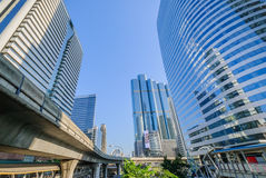 Perspective view to modern glass building. Perspective and underside angle view to modern glass building Stock Image