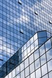 Perspective view to steel blue glass building skyscrapers Royalty Free Stock Photography