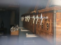Traditional silver metal beer barrels stock photos