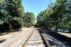 Perspective view of a train track in current use in Galicia Spa. In with a lot of vegetation on the sides of the track and the blue sky and totally clear Stock Photography