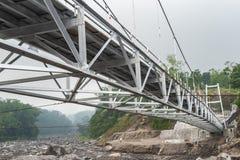 Underneath view of suspension bridge. Perspective view underneath of suspension bridge stock photos