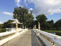 The Perspective view of walkway bridge in the park. Stock Images
