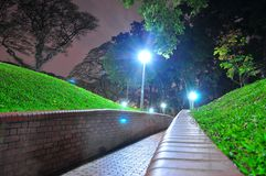 Perspective view of walkway at a garden Royalty Free Stock Photo