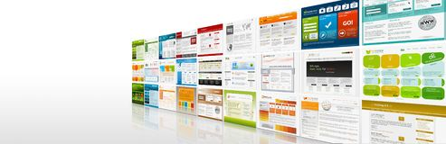 Perspective View of Website Templates Panorama - Banner. Perspective View of Website Templates Panorama - Webdesign Presentation Banner with Free Space for Your stock illustration
