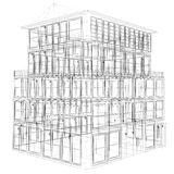Perspective view of wireframe building Royalty Free Stock Photo