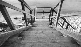 Perspective view of wooden stairs going down Royalty Free Stock Images